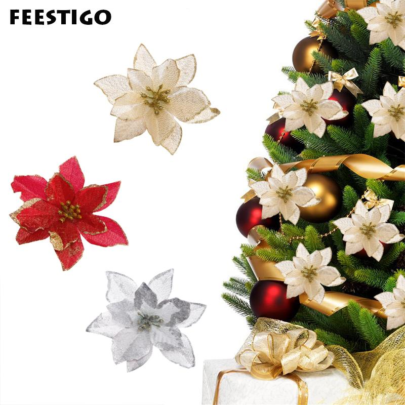 Christmas Flowers.13cm 30pcs Lot Artificial Glitter Christmas Flowers Tree Pendant Drop Ornaments Red Christmas Decorations Happy New Year Decor