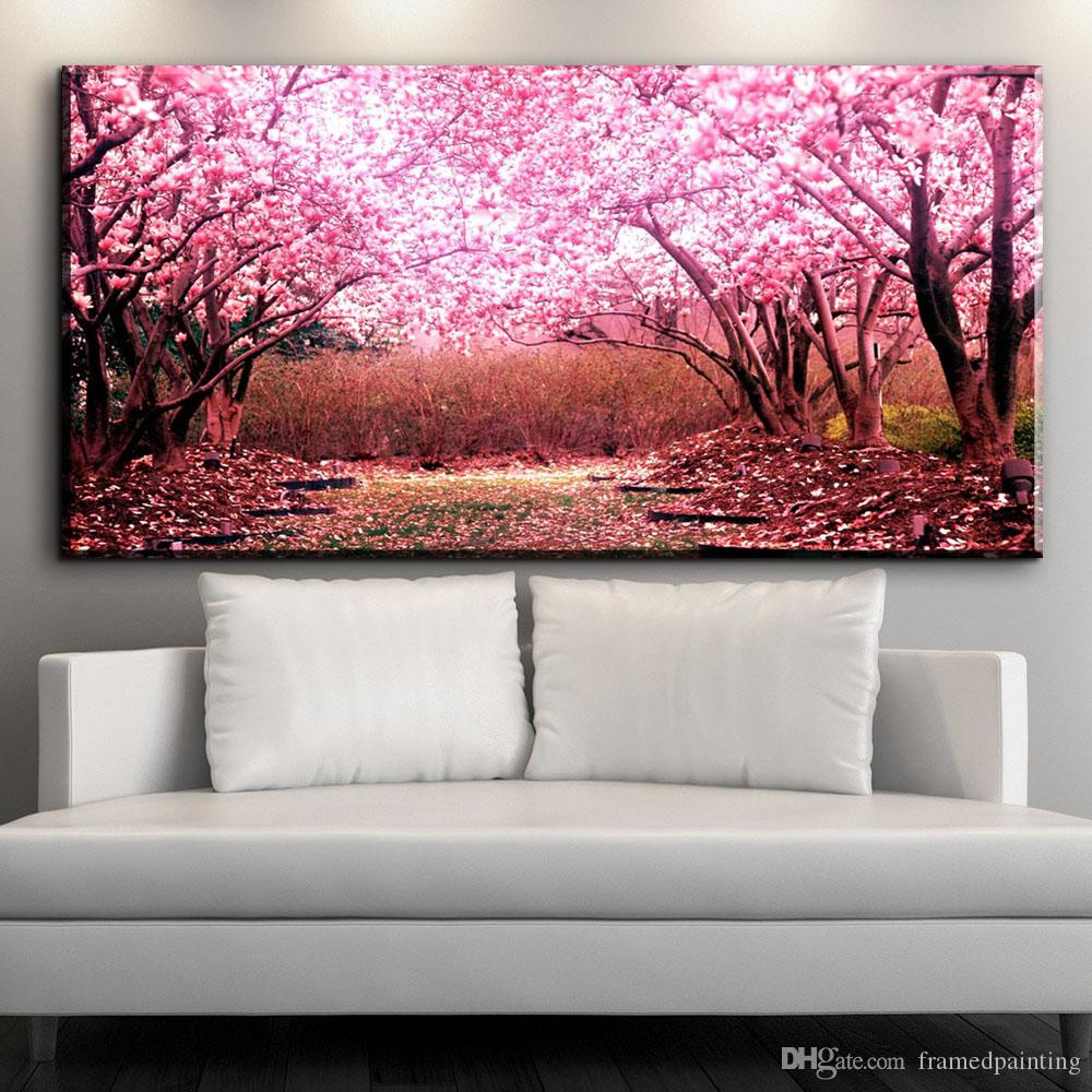 modern decorative canvas art beautiful Cherry blossoms flower canvas pictures oil art painting for livingroom bedroom art No framed