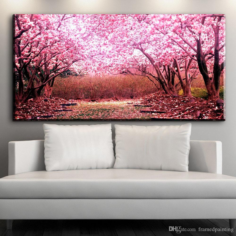 Acheter Moderne Toile Decorative Art Belle Fleurs De Cerisier Fleurs