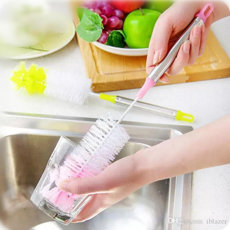 Long Bottle Brush Cleaner for Washing Wine Beer Decanter Kombucha Hydroflask Thermos Glass Jugs and Long Narrow Neck Sport Bottles