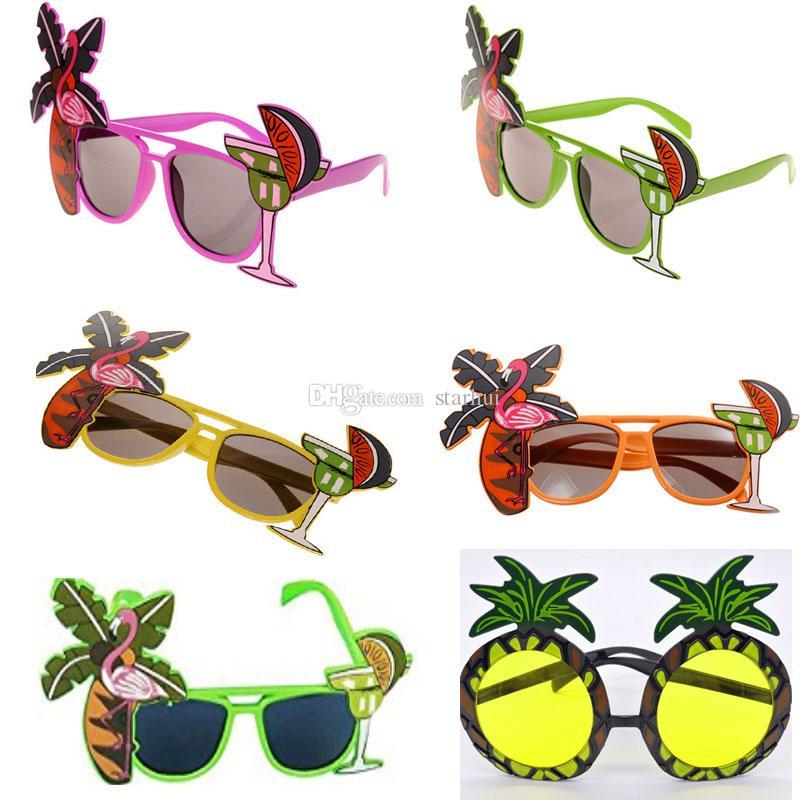 972a717f1724f Flamingo Party Sunglasses pineapple Hawaiian Tropical COCKTAIL Hula Beach  Beer Sunglasses Goggles Night Stage Fancy Dress Eyewear WX9-825