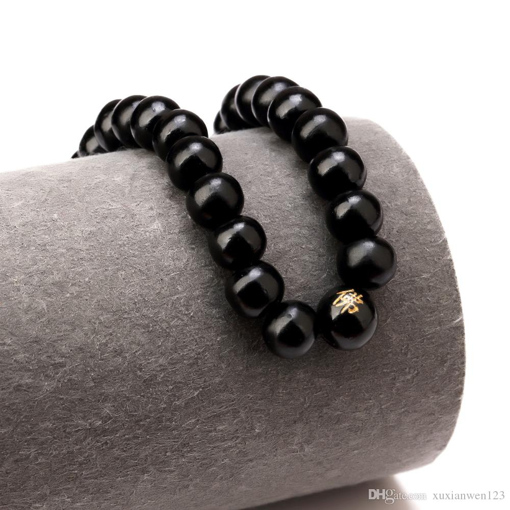 New Hot Hip Hop Men Wood Beads Bracelets Sandalwood Buddhist Buddha Meditation Prayer Bead Bracelet Wooden Jewelry