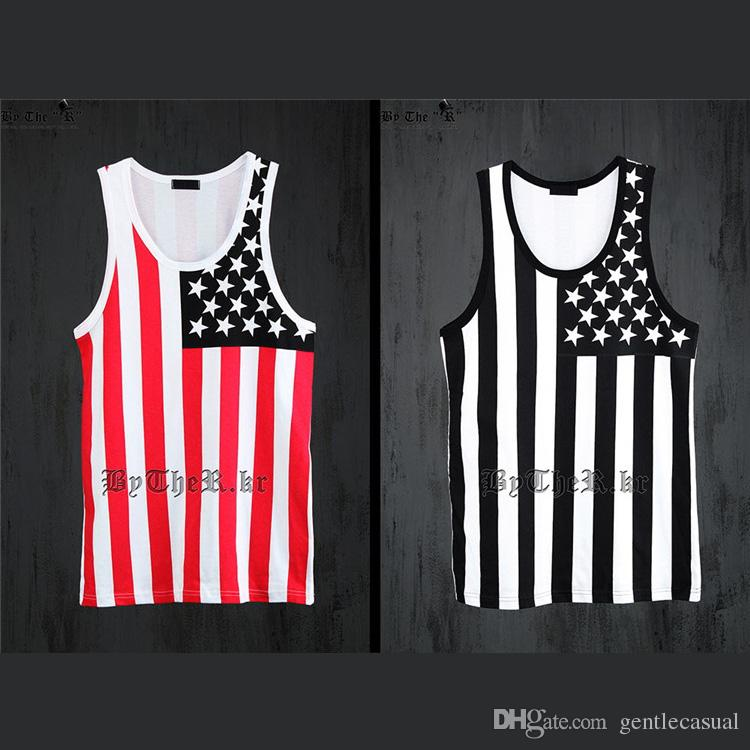 3c535239 Designer USA Flag Print Stars And Straps T Shirt Mens Sleeveless T Shirt  Thin Tees Mens Fashion Clothes Black And Red Print On T Shirt Cheap Funny T  Shirts ...