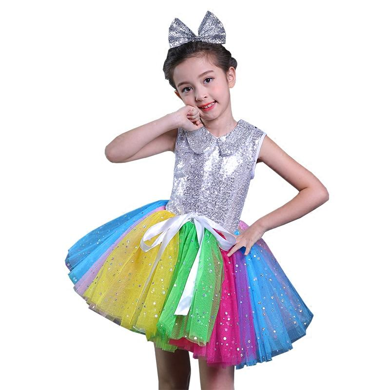 19bb960233 Children's Jazz Dance Costumes Sequins Dress Modern Stage Performance  Clothing Street Dance Princess Bitter Fleabane Skirt
