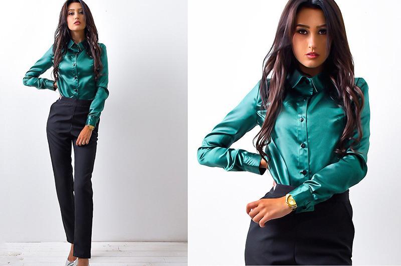 2018 nouvelles femmes chemises de travail de bureau femmes élégantes haute qualité satin de soie à manches longues bouton revers Blouse de fête Tops