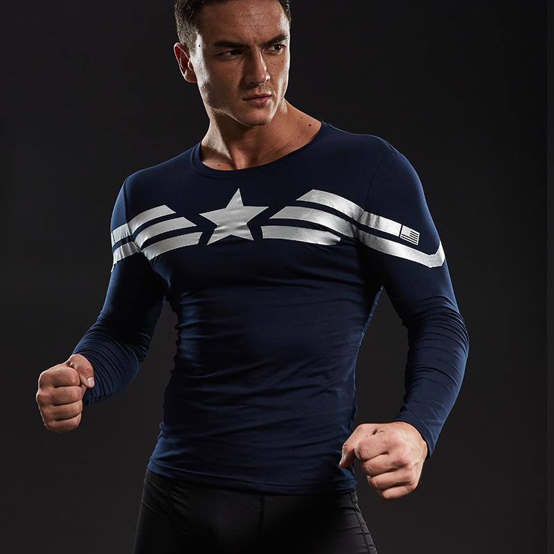f02e6384f Captain America Long Sleeve T Shirts For Men Cotton Lycra Civil War Avengers  Cosplay Costume Fitness Clothing Tops For Male S917 Buy Tshirt Political  Shirts ...