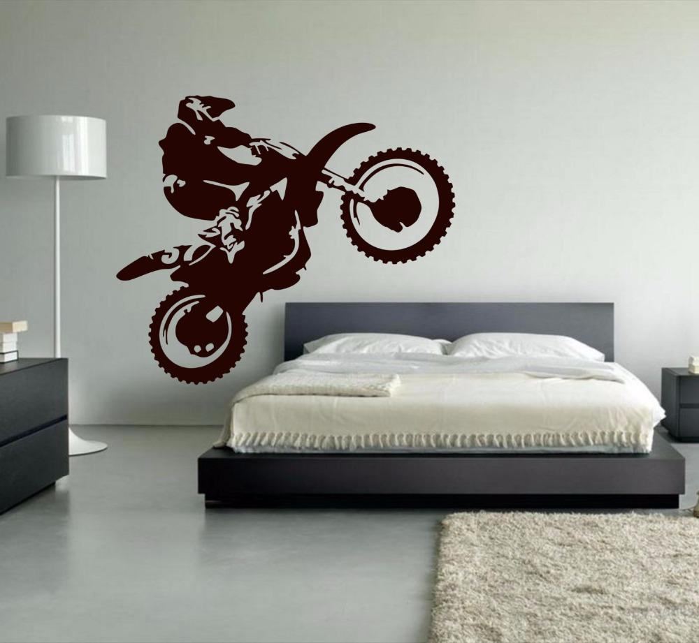 Motocross Vinyl Wall Decal Motorcycle Moto Wall Art Home Decals For