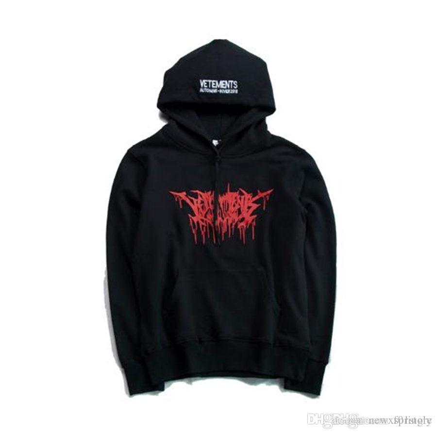 2019 2017 Mens Oversize Red Metal Logo Printed Vetements Hoodie