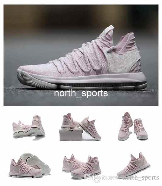 uk availability 7089b 2cfe1 2018 New KD 10 Aunt Pearl Mens Basketball Shoes Sneakers High Quality Pearl  Pink White Sail Athletic Sport Sneakers AQ4110 600 Eur 40 46 Shoes For Men  ...