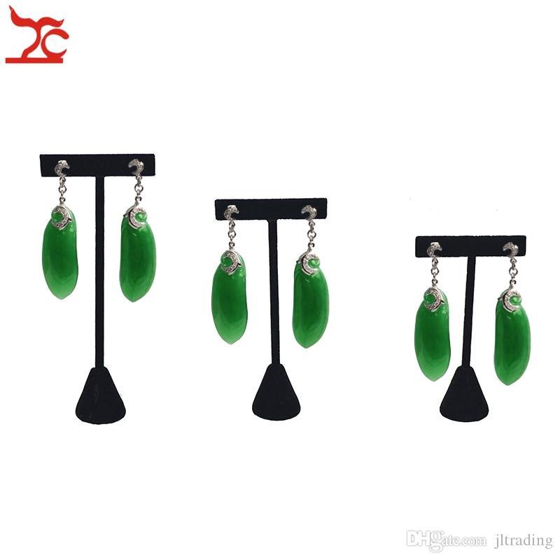 Good Quality Black Velvet Jewelry Display Rack Earring Tree T Bar Display Holder Stud Organizer Storage Showcase Stand 3 Sizes