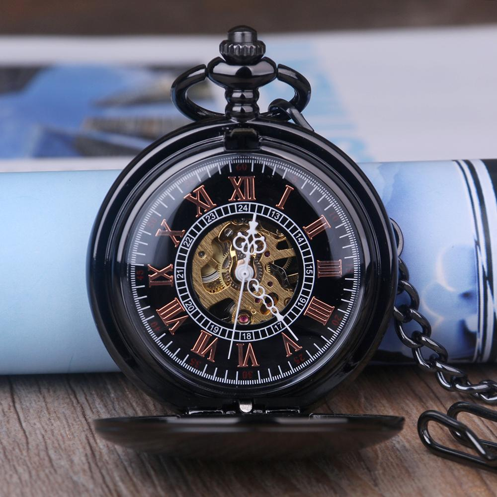 9556cd708 Black Alloy Vintage Anti Pocket Watch Steampunk Hunter Mechanical Skeleton  Pocket Watch Chain Anniversary Gift Swiss Watch Automatic Watch From  Byuild, ...