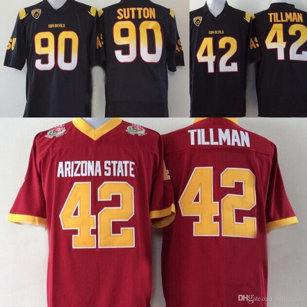 e1a688c4 Arizona State College Jerseys 42 Pat Tillman 90 Stton Pose Bowl Game Red  Black Mens College Football Jersey