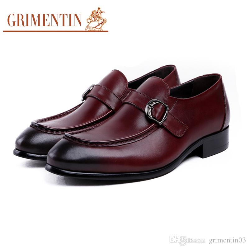 GRIMENTIN Newest mens genuine leather shoes black brown slip on Italian fashion Causal male dress shoes hot sale brand men wedding shoes