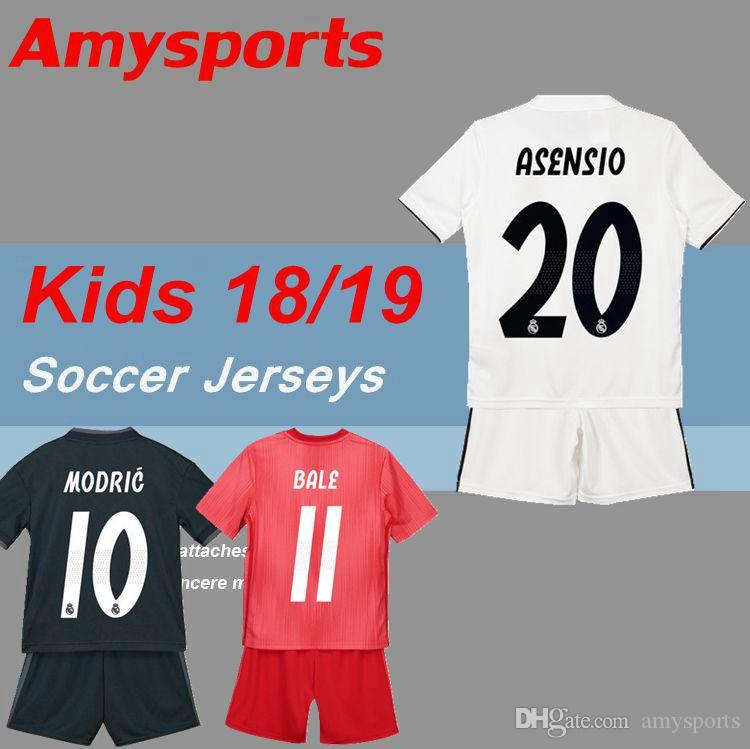 2019 2018 2019 Kids Kit Real Madrid Soccer Jersey 18 19 Youth Boy Child  BALE Modric Kroos Sergio Ramos VINICIUS JR ASENSIO ISCO Home Away Jersey  From ... 34ea37671