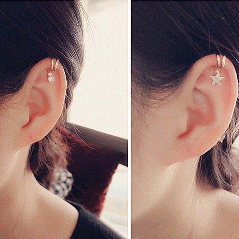 d8095ee65 2019 10 Styles Star Heart Silver Gold Crystal Clip Earring For Women Lovely  Girl Non Piercing Ear Cartilage Clip Wholesale From Yuijin, $33.04    DHgate.Com