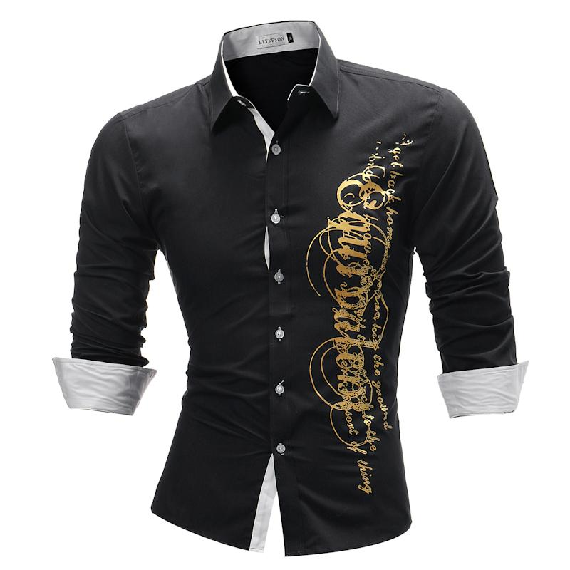 5077400adfc 2019 Brand 2018 Fashion Male Shirt Long Sleeves Tops Letter Print Mens  Dress Shirts Slim Men Shirt Plus Size 4xl C93 From Netecool