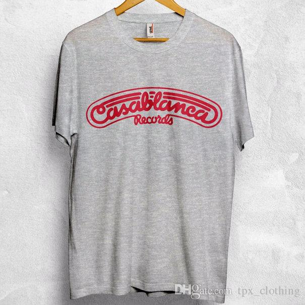 Casablanca t shirt Cool words records popular short sleeve gown Street  casual tees Printing clothing Pure color cotton Tshirt