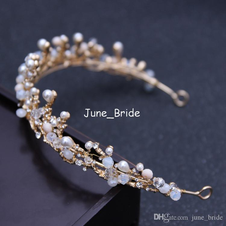 High Quality New Unique Royal Princess Gold Baroque Tiara Bridal Crown Wedding Luxury Crystal Pearl Prom Party Hair Accessory