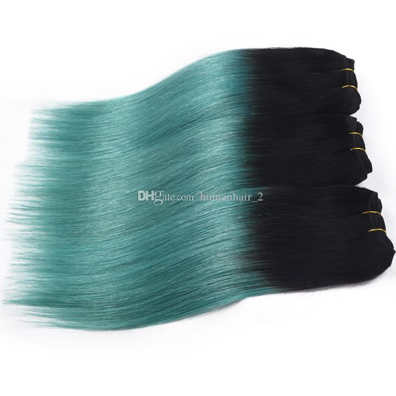 Two Tone Hair Bundles Green Hair Extension Ombre Human Hair Weaves Brazilian Bundles For Sale