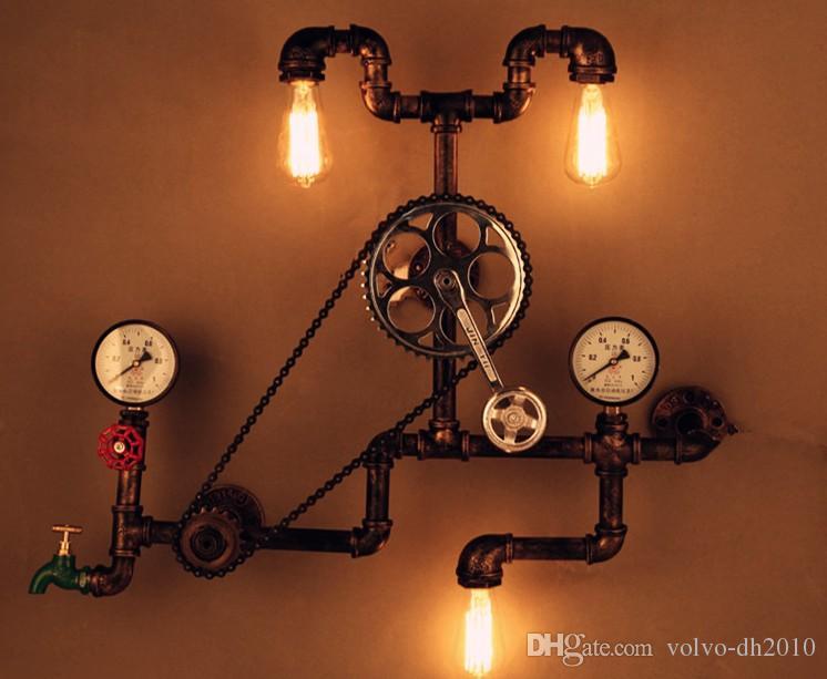 Acquista lampada da parete industriale retro tubo di acqua