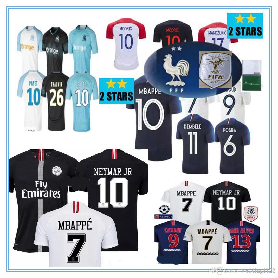 Tailandia Dos Estrellas 2018 Croacia Jersey MODRIC MANDZUKIC RAKITIC  Francia Mbappe Soccer Jerseys 18 19 Camisetas PERISIC KALINIC KOVACIC Away  Black 2019 ... 099ac3e135d64