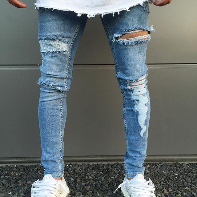 e66d931c90c4 New Knee Hole Men Jeans Zipper Slim Skinny Distressed Ripped Biker ...
