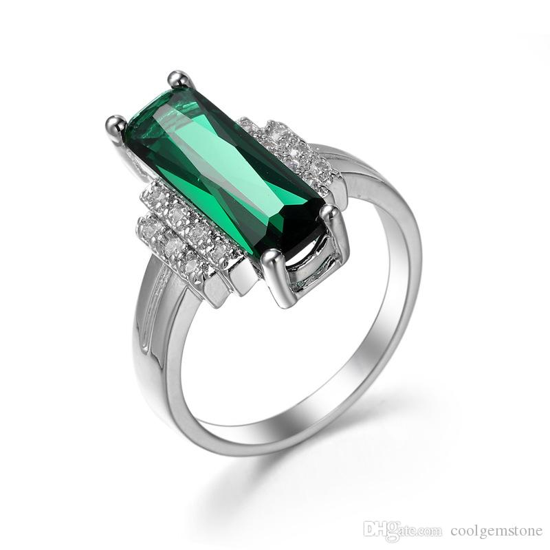 2018 Luckyshine Christmas 925 Sterling Silver Of Colors Square Green