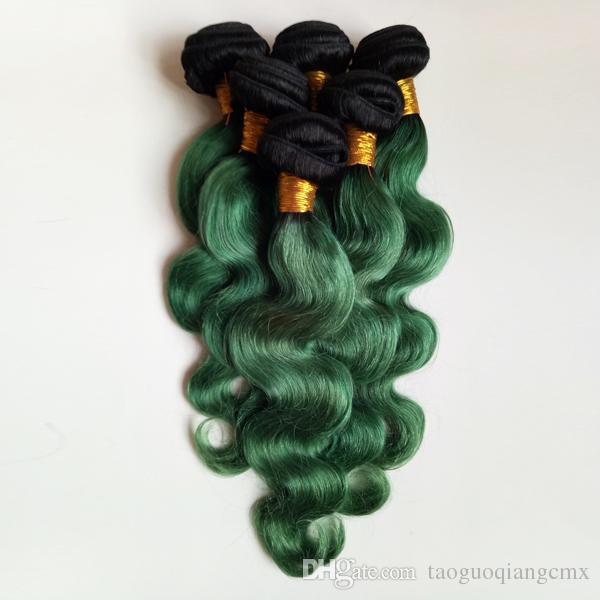 브라질 바디 웨이브 버진 휴먼 헤어 익스텐션 3Bundles Two Tone 1B / 녹색 Omber 8-26inch hair double weft 섹시한 인도 레미 Hair Weaves