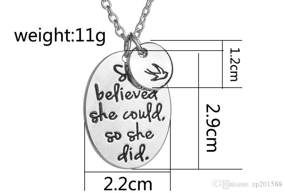 """Vintage Silvers Hand Stamped """"she believed she could so she did"""" Disc Swallow Charms Pendant Necklace For Women Best Friends Jewelry Gift"""