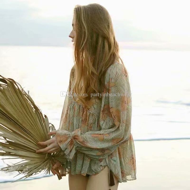 a511c3938d2bc 2019 Boho Blouse Shirt New Chic Floral Print V Neck Tassel Puff Long Sleeve  Chiffon Tops Casual Loose Beach Bohemian Holiday Women Blouses Blusas From  ...