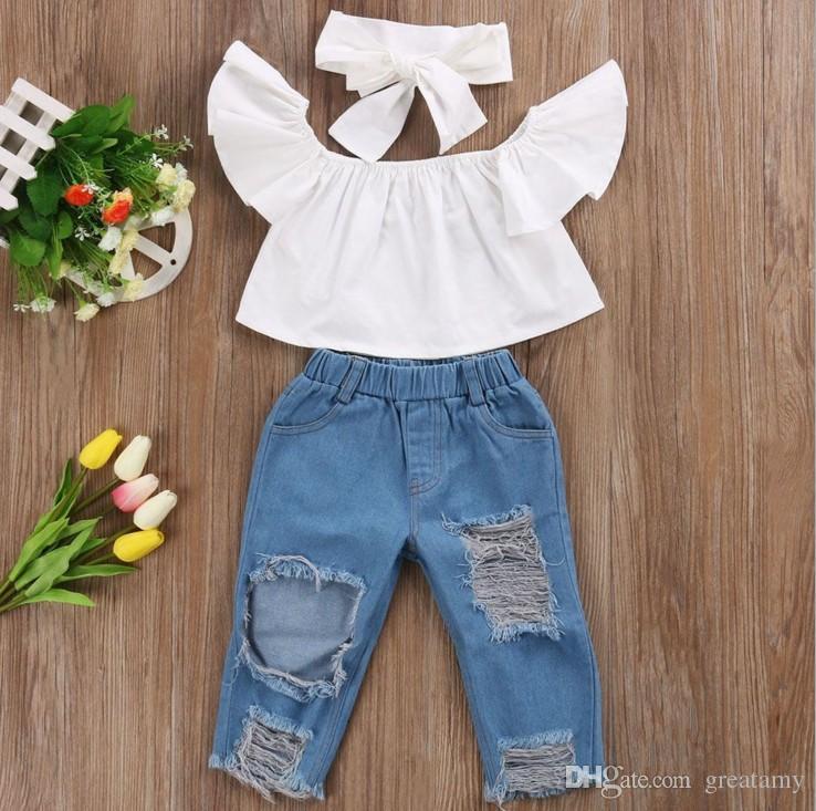 Симпатичные девочки новая мода дети девушки одежда с плеча культур топы Белый + отверстие джинсовые брюки Жан + оголовье 3 шт. / компл.