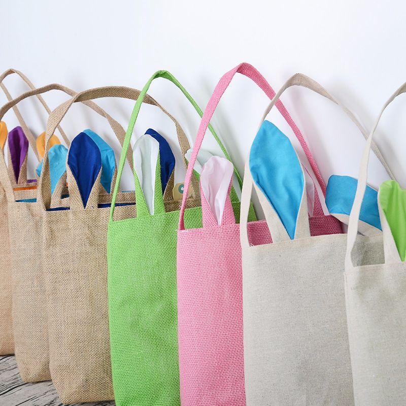 T11-T24 Funny Design Easter Bunny Bag Ears Bags Cotton Material Easter Burlap Celebration Gifts Christma Bag 2017 Hot Sale Handbag