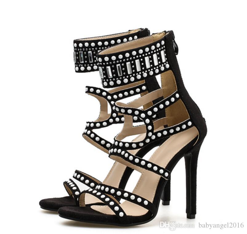 d19bf5b27b77 2018 New Fashion Women Open Toe Rhinestone High Heel Sandals Ankle Wrap  Crystal Gladiator Sandals Formal Dress Shoes Leather Sandals Wedding Sandals  From ...
