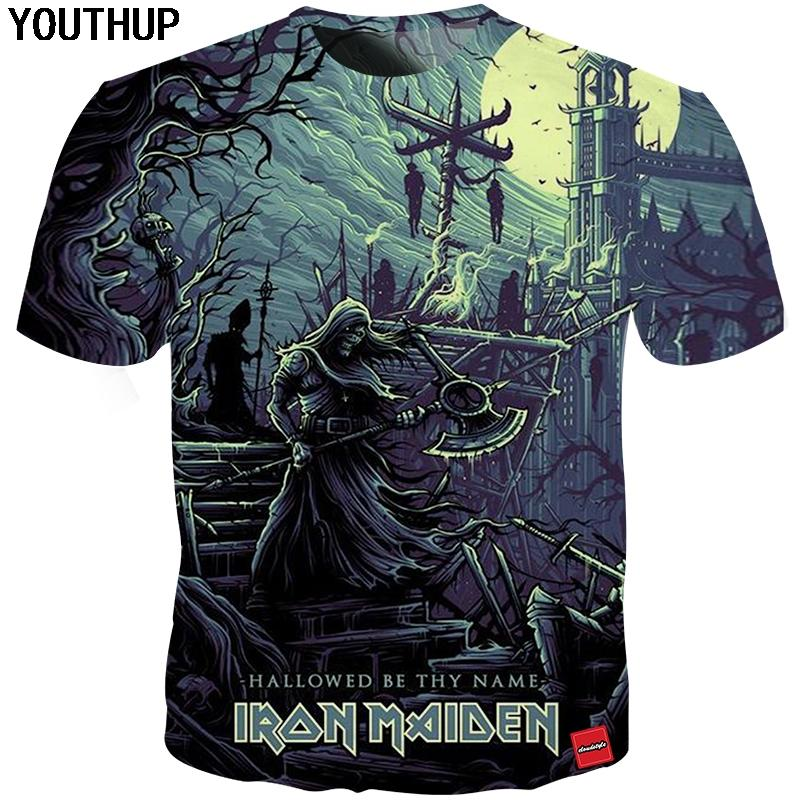 e8e4f3f5f1f2 YOUTHUP 2018 New Iron Maiden T Shirt Men Skull Print Band Men'S T Shirt  Heavy Metal Ghost Tees Cool Rock 3d Streetwear Coolest Tee Shirts Cool T  Shirts ...