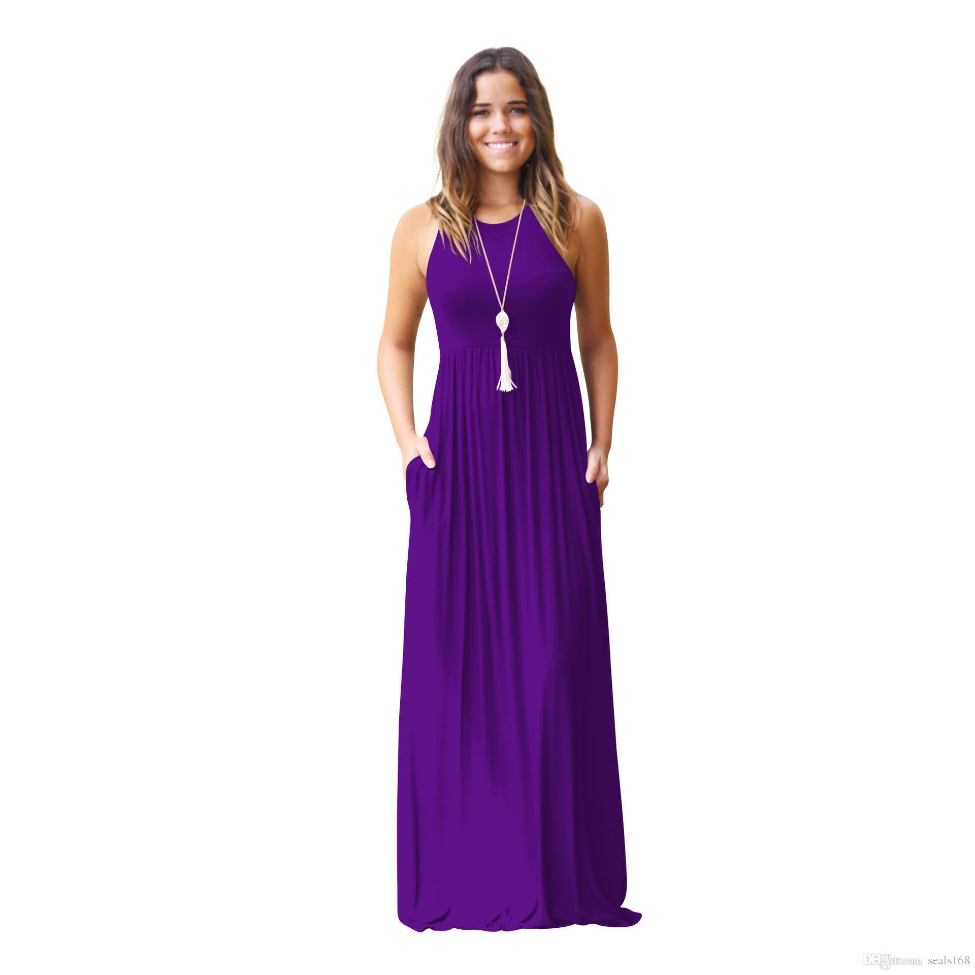 النساء فساتين ماكسي أكمام فضفاضة عادي فساتين عادية فساتين طويلة مع جيوب شاطئ اللباس المنزل زائد حجم الملابس S-2XL HH7-1144