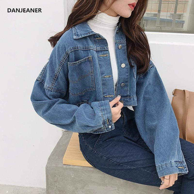 1252906c4b9 Danjeaner Korean Version Retro Short Denim Jacket Women Fashion Streetwear  Casual Windbreak Jean Jacket Ladies Basic Coats Black Leather Jacket Down  Jacket ...