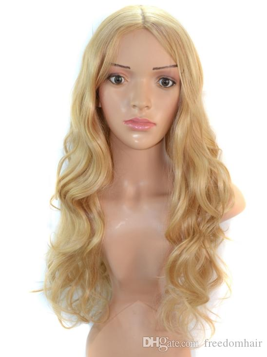 2018 Hot Sale Long Style Synthetic Hair Wig Golden Color Top Skin Heat Resistant Fiber Full Hair Wig For European American Lady