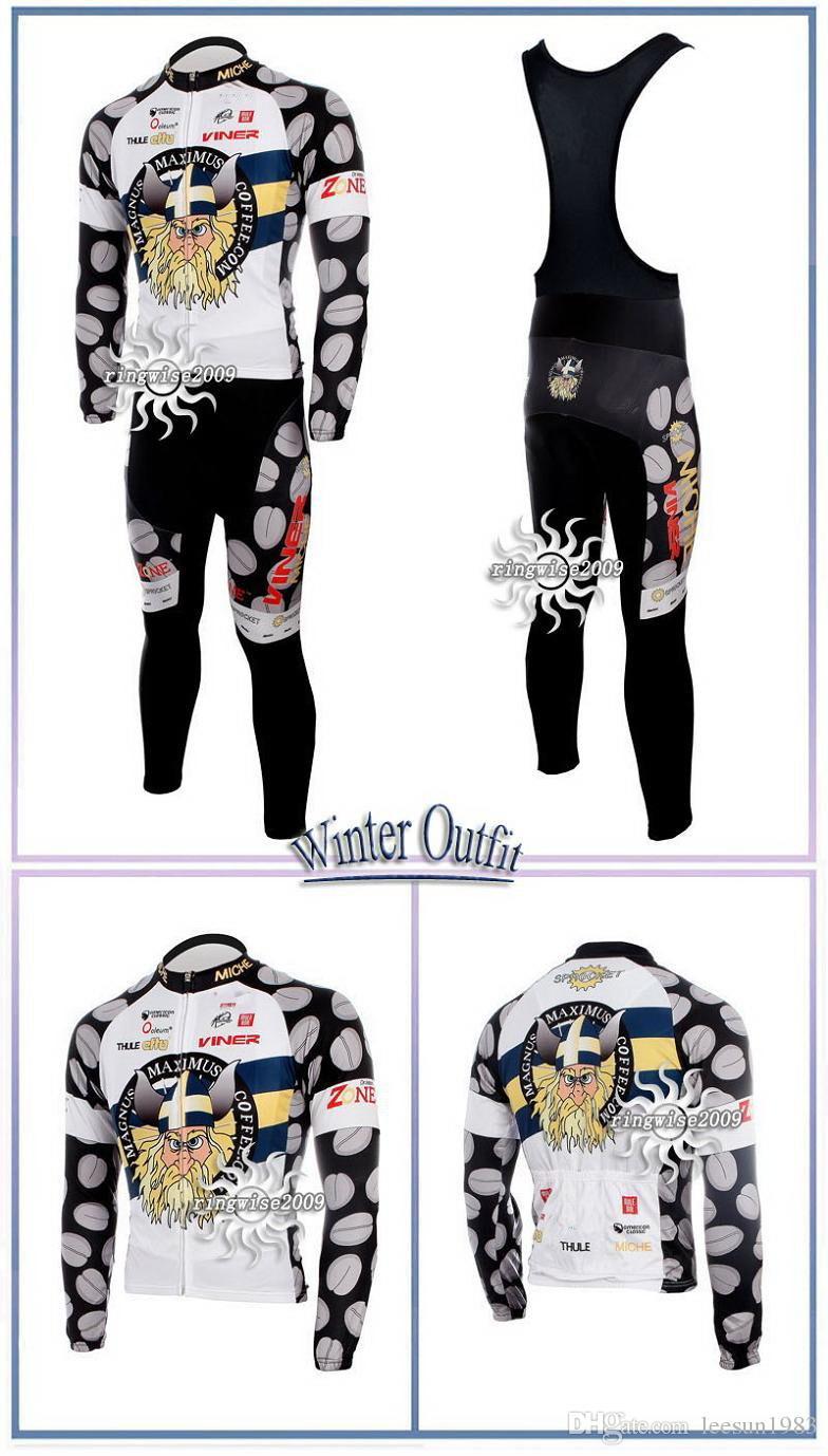 冬のフリースサーマルサイクリングロングジャージー+ビブパンツ2010マグナスマキシムスピックサイズ:XS-4XL