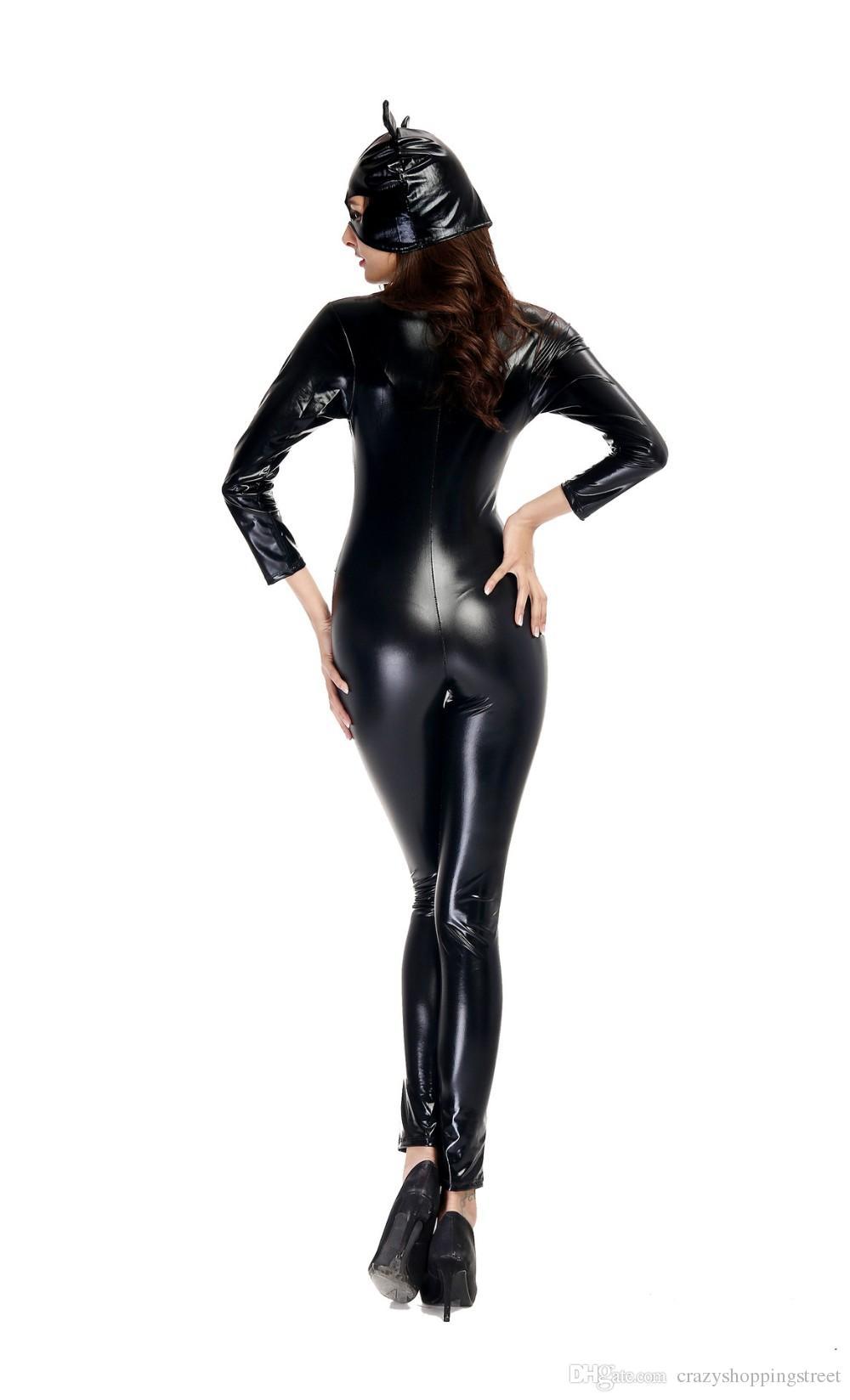 Manches longues femme Faux cuir brillant Catsuit Chat Femmes strip-teaseuse salopette avec un masque