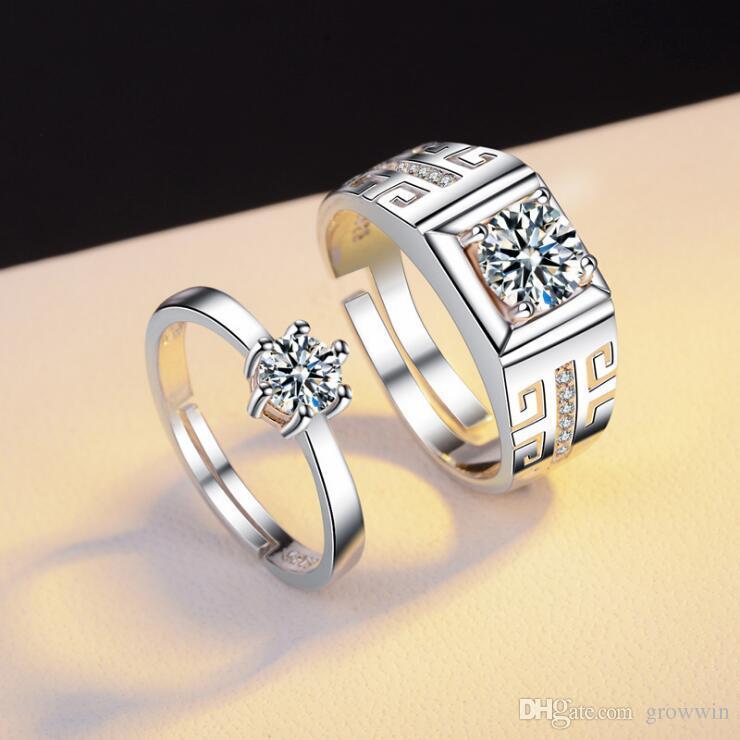 Пара кольцо мужской и женский Алмаз кольца моделирование Циркон открыть обручальное  кольцо позолоченные мужские мужские кольца D0041 7d7c2806898
