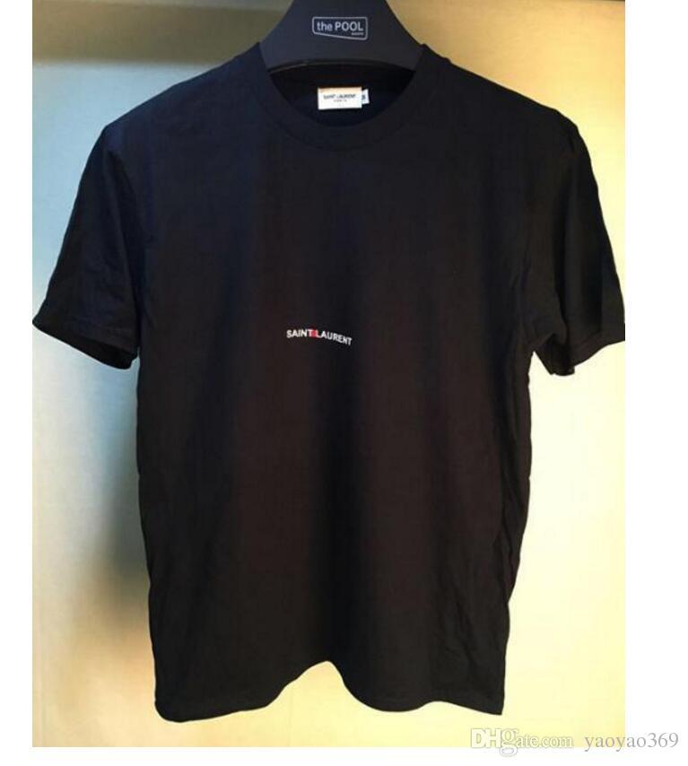 Paris Designer Été Hommes 100% Coton T-Shirts Lettre Imprimer Noir Marque Vêtements Femmes Manches Courtes T Shirts Tops Tees 2018