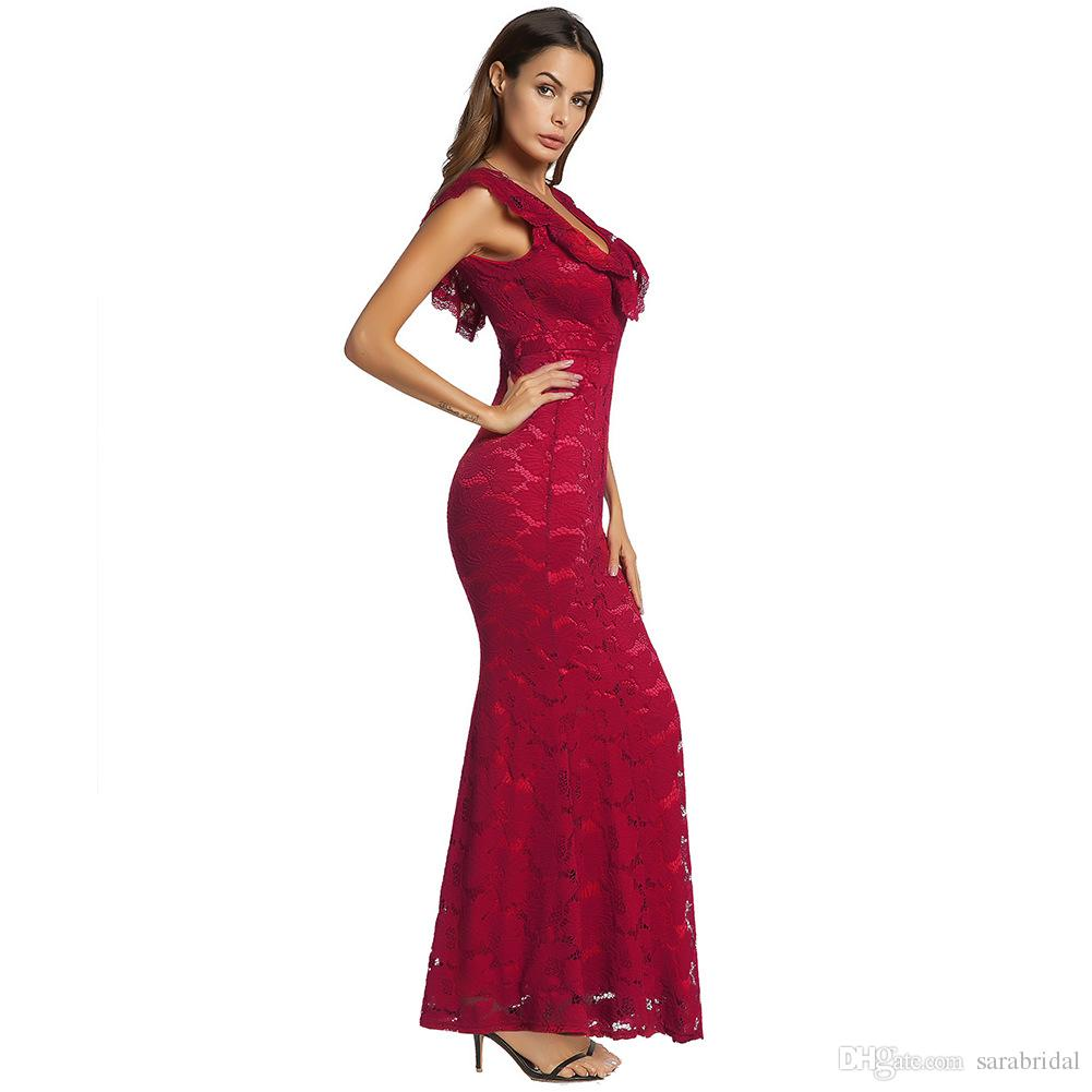 Stock Cheap Ful Lace Mermaid Formal Evening Dresses Cap Sleeve Backless Beach Women Cocktail Party Gown Casual Formal Prom Wear Clothing