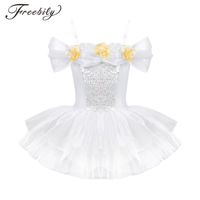 5b34fe2e9b8c4 2019 Sleeveless Ballerina Fairy Prom Party Costume Kids Girls 3D Flowers  Flower Dress Dancewear Gymnastic Ballet Leotard Tutu Dress From Guocloth,  ...