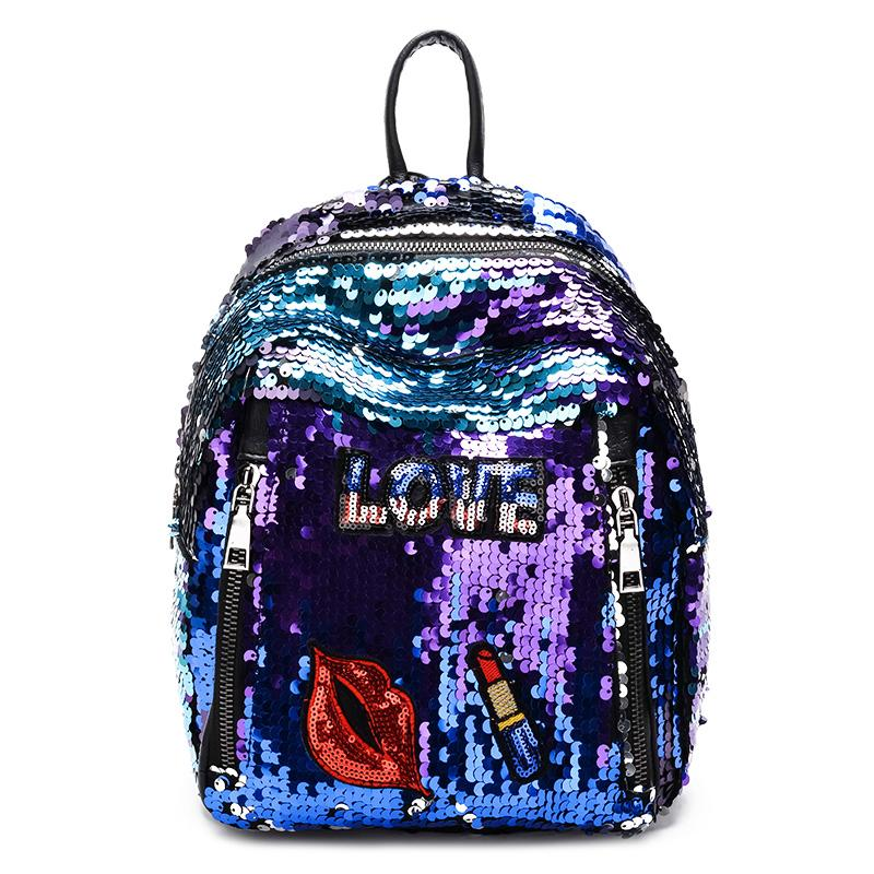 1eb368ca7eb New Arrival Women All-match Bag PU Leather Sequins Backpack Girls Small  Travel Princess Bling Backpacks