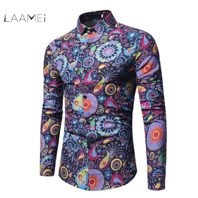 Großhandel Laamei Fashion Trend Blumenhemd Männer 2018 Frühling Blumendruck  Shirts Marke Kleidung Casual Business Hawaiian Langarmshirts Von Purlove,  ... a9ceaf8330