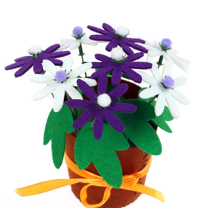 Niños lindos tejidos a mano de flores en maceta para niños creativos diy fiesta de decoración festival regalo material manual bolsas suministros de artesanía