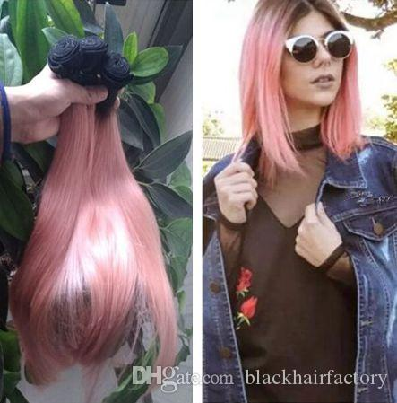 Ombre Hair Extensions Rose Gold Dark Roots Brazilian Straight Hair