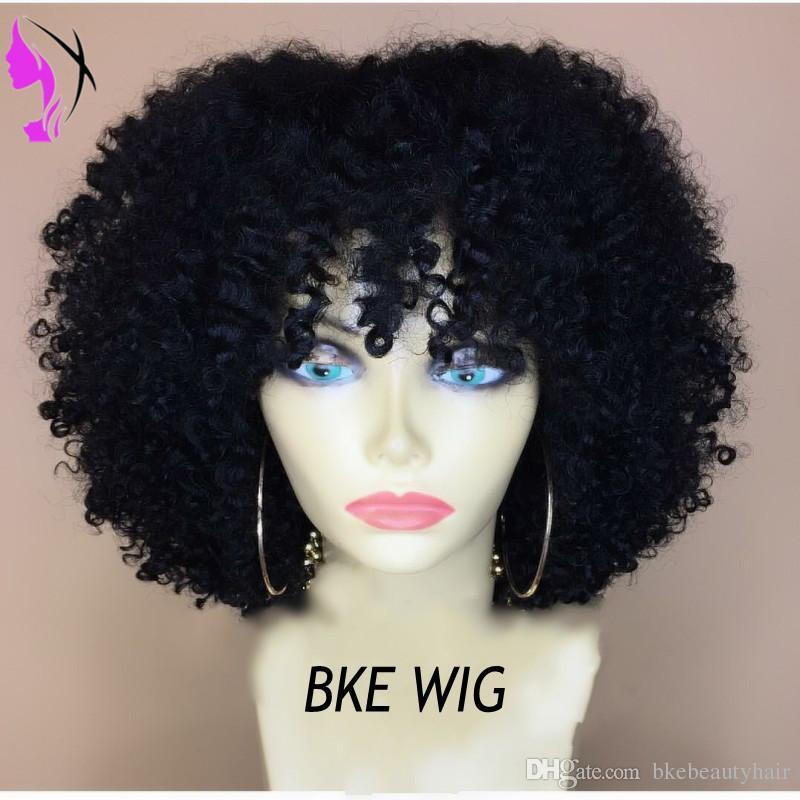 Top qualidade preto / marrom / cor de vinho curto Afro Kinky Curly Mulheres Perucas de Alta Densidade de renda frente Perucas de Cabelo Sintético Para A África Os americanos