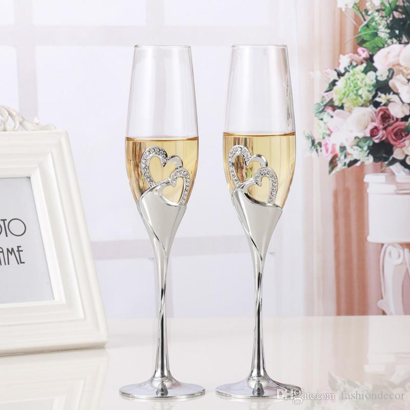 2018 Set Wedding Toasting Crystal Champagne Flutes Glasses Cup