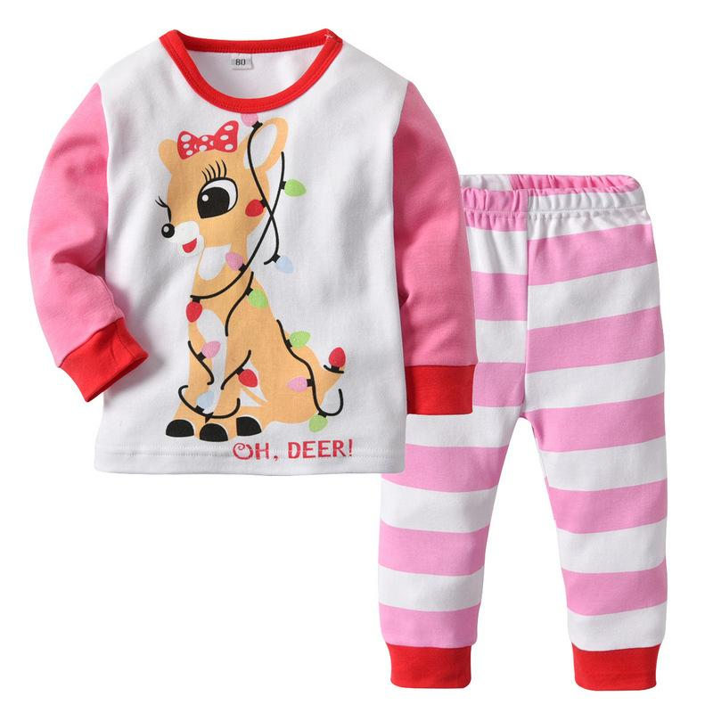 ab7d1e1c617a Kids baby Household clothing 2018 girls cartoon fawn printing pajamas  top+pants two-piece set